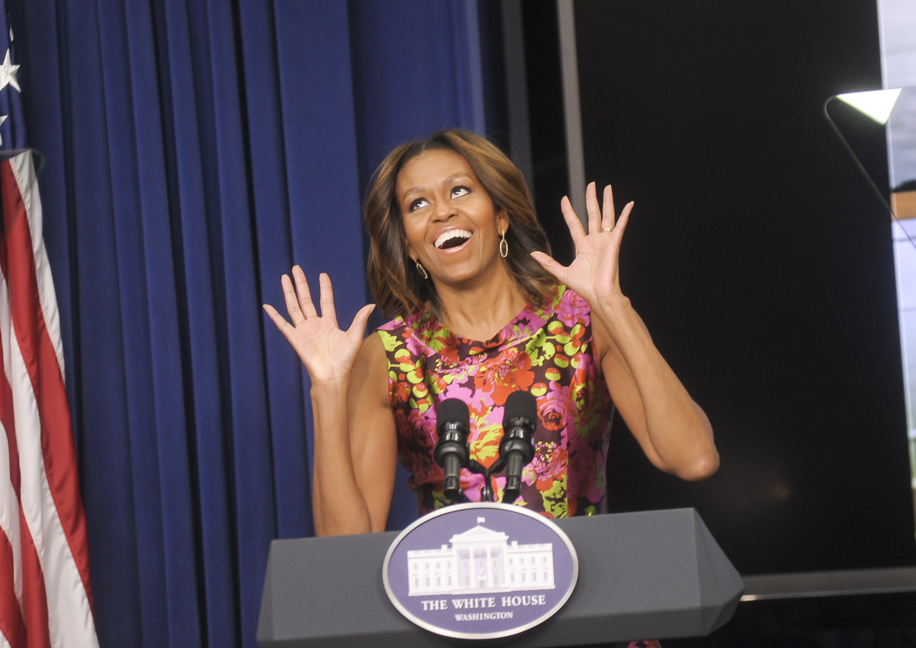 "WASHINGTON, DC - FEBRUARY 24: First Lady Michelle Obama speaks during a screening of ""The Trip To Bountiful"" at the Eisenhower Executive Office Building on February 24, 2014 in Washington, DC.<br /> <h5>(Photo by Kris Connor/Getty Images)"