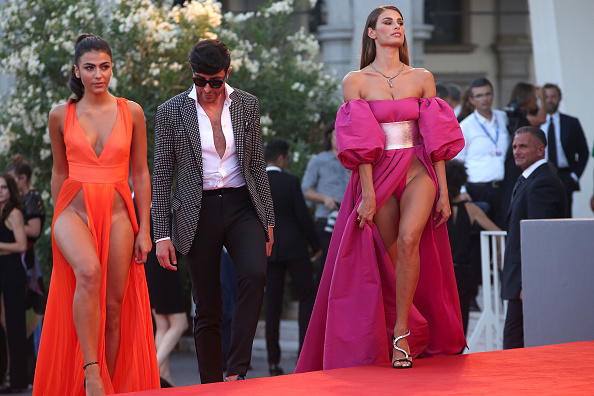 Italian models grab attention in revealing 'no underwear' dresses on red carpet