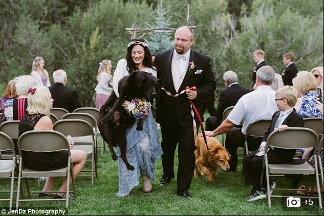 Maid of Honor carries bride's beloved dying dog down the aisle