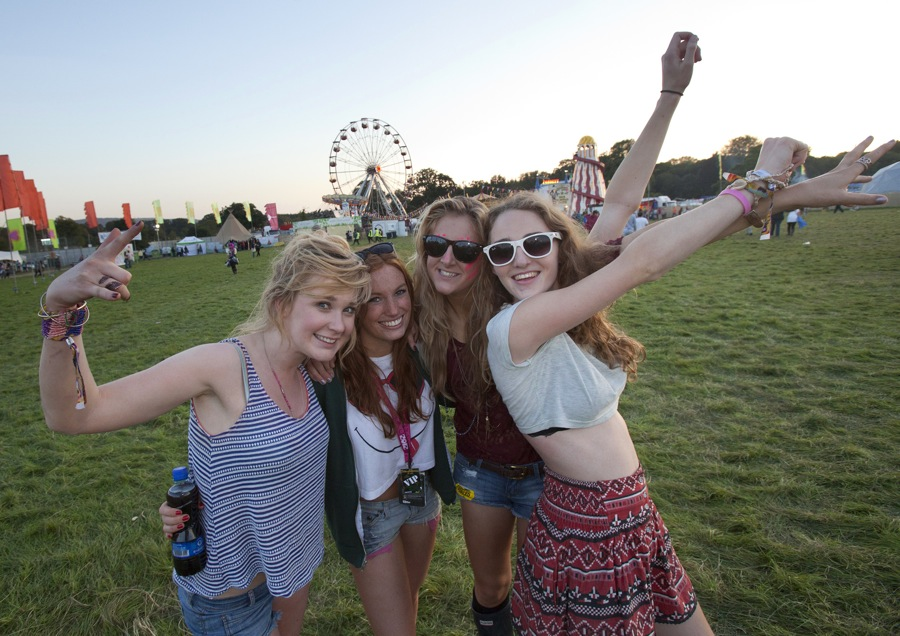 Jane Halley, Lydia Coleman, Susan Boland and Rachel Enright pictured at sunset on the last day of Electric Picnic 2012.