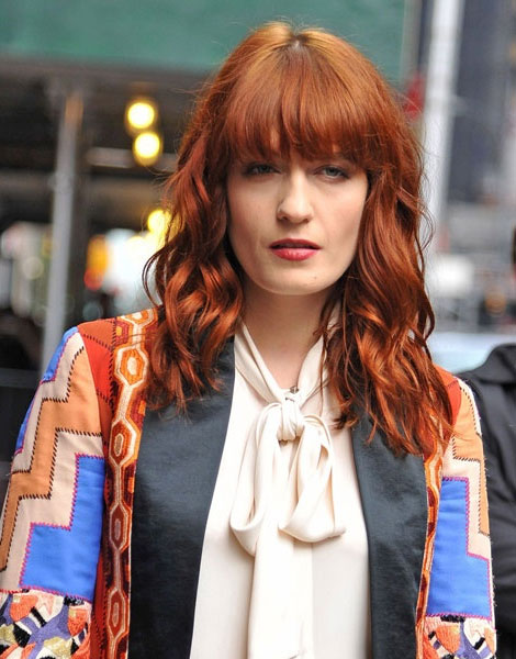 If you have a square jaw like Florence Welsh, a full fringe is the only way to go. It will help balance out your proportions and will draw attention to your eyes and not your strong jaw line.