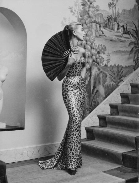 A model wearing an evening dress by the fashion house Balmain