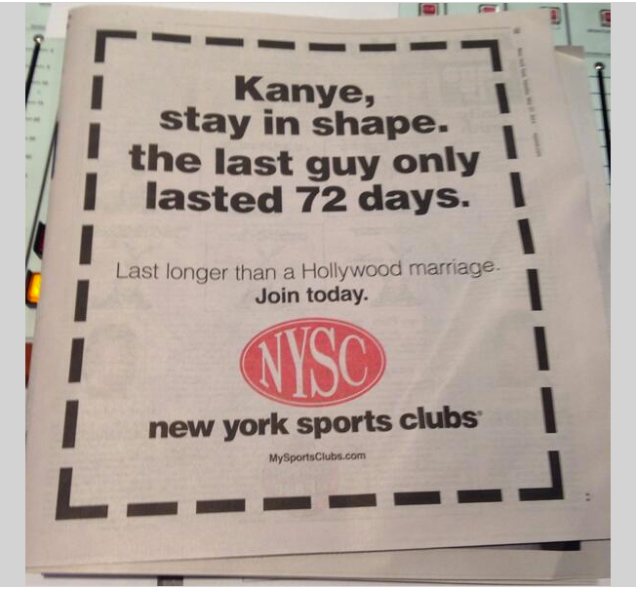 Ouch! Gym Advertisement Capitalises In Kimye's Wedding In