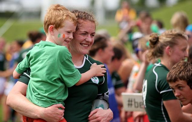 Fiona Coghlan celebrates with her nephew Jack 9/8/2014