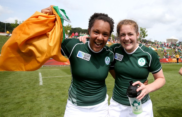 Sophie Spence and Fiona Coghlan celebrate 9/8/2014