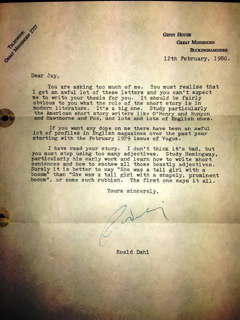 Roald Dalh letter