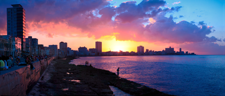 Sunset panorama over malecon in havana cuba