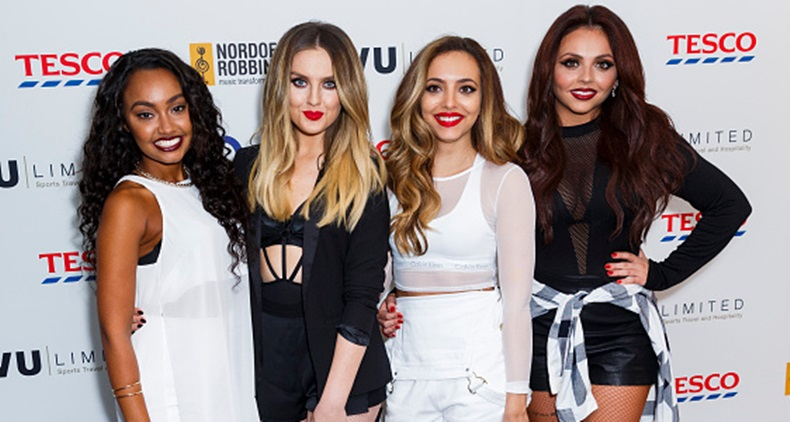 LONDON, ENGLAND - JANUARY 14: Leigh-Anne Pinnock, Perrie Edwards, Jade Thirlwall and Jesy Nelson of Little Mix attend the Nordoff Robbins Six Nations Championship Rugby Dinner at The Grosvenor House Hotel on January 14, 2015 in London, England. (Photo by Tristan Fewings/Getty Images)