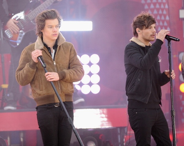 NEW YORK, NY - NOVEMBER 26:  Harry Styles and Louis Tomlinson of One Direction perform at Rumsey Playfield on November 26, 2013 in New York City.  (Photo by Jamie McCarthy/Getty Images)