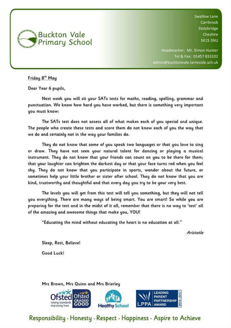 Pic this school sent the honest letter every student deserves to buckton vale school spiritdancerdesigns Image collections