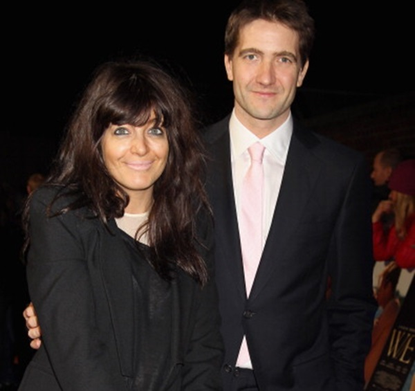LONDON, ENGLAND - JANUARY 11:  Claudia Winkleman and Kris Thykier arrive at the UK premiere of W.E.at ODEON Kensington on January 11, 2012 in London, England.  The film is released on January 20. (Photo by Chris Jackson/Getty Images for Freud)