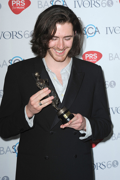 LONDON, ENGLAND - MAY 21:  Hozier with the award for Best Song Musically And Lyrically at the Ivor Novello Awards at The Grosvenor House Hotel on May 21, 2015 in London, England.  (Photo by Dave J Hogan/Getty Images)
