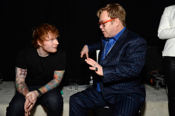 WEST HOLLYWOOD, CA - MARCH 02: Recording artist Ed Sheeran (L) and Sir Elton John attend the 22nd Annual Elton John AIDS Foundation Academy Awards Viewing Party at The City of West Hollywood Park on March 2, 2014 in West Hollywood, California.  (Photo by Michael Kovac/Getty Images for EJAF)