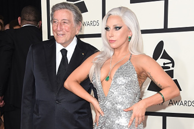 LOS ANGELES, CA - FEBRUARY 08:  Singers Lady Gaga and Tony Bennett attend The 57th Annual GRAMMY Awards at the STAPLES Center on February 8, 2015 in Los Angeles, California.  (Photo by Jason Merritt/Getty Images)