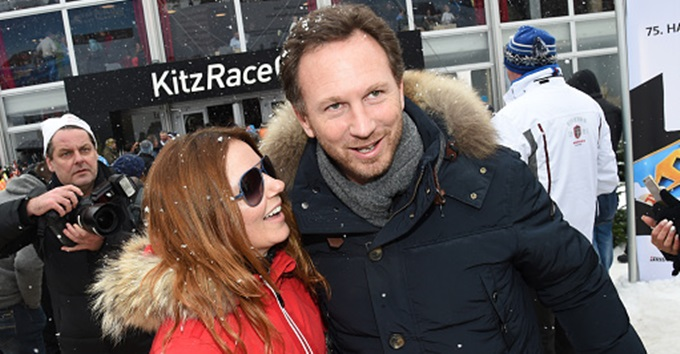 KITZBUEHEL, AUSTRIA - JANUARY 24:  Christian Horner and girlfriend Geri Halliwell attend the  Hahnenkamm Race on January 24, 2015 in Kitzbuehel, Austria.  (Photo by Hannes Magerstaedt/Getty Images)