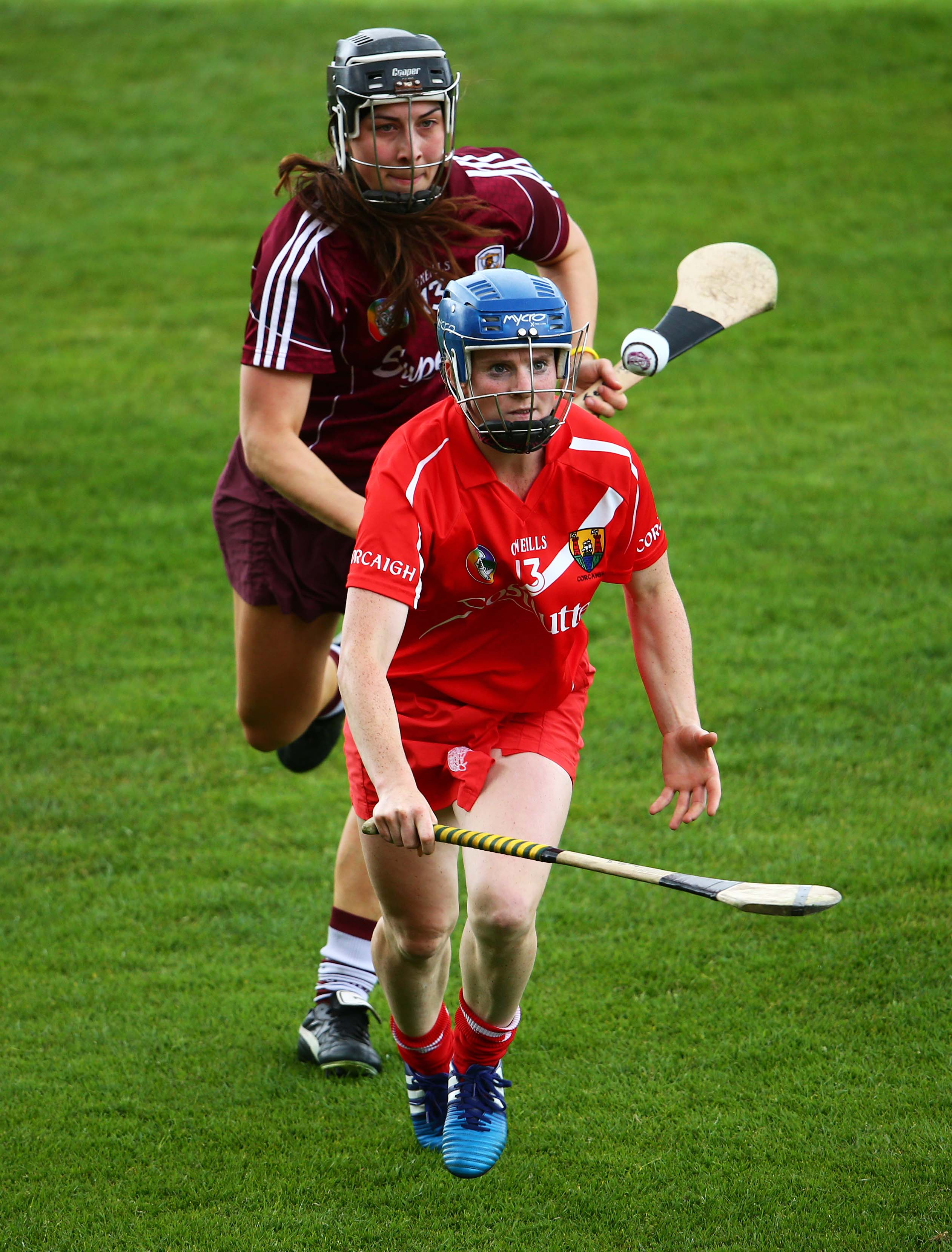 REPRO FREE***PRESS RELEASE NO REPRODUCTION FEE*** Liberty Insurance Camogie Championship Round 1, OÕConnor Park, Tullamore, Offaly 20/6/2015 Galway vs Cork Galway's Jessica Gill and Briege Corkery of Cork Mandatory Credit ©INPHO/Cathal Noonan