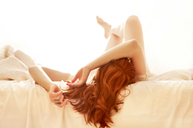 woman lying in bed