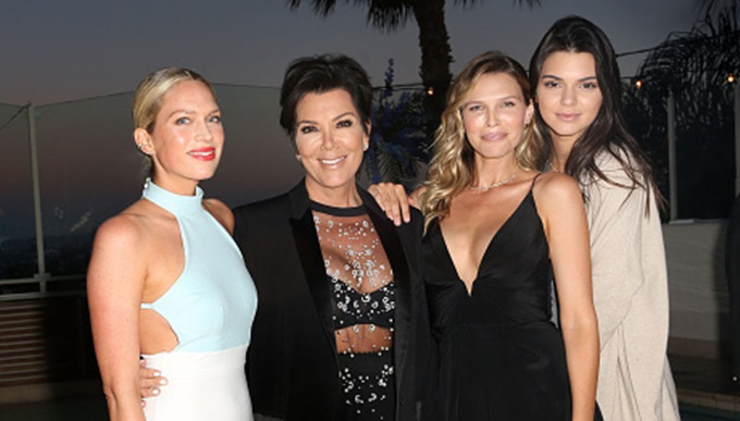 WEST HOLLYWOOD, CA - JULY 16:  (L-R) Erin Foster, Kris Jenner, Sara Foster, and Kendall Jenner attend Amazon Prime Summer Soiree hosted by Erin Foster and Sara Foster at Sunset Towers on July 16, 2015 in West Hollywood, California.  (Photo by Rachel Murray/Getty Images for Amazon)