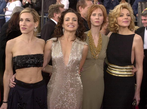 """LOS ANGELES, UNITED STATES:  The cast of """"Sex and the City"""" arrive at the 7th Annual Screen Actors Guild Awards 11 March 2001 in Los Angeles.  The cast is nominated for Outstanding Performance by an Ensemble in a Comedy Series. From left are: Sarah Jessica Parker, Kristin Davis, Cynthia Nixon and Kim Cattrall  AFP PHOTO/Vince BUCCI (Photo credit should read Vince Bucci/AFP/Getty Images)"""