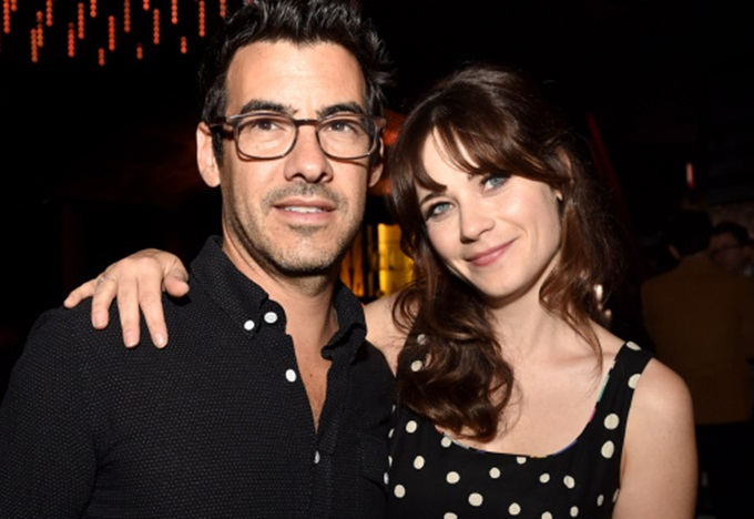 """LOS ANGELES, CA - SEPTEMBER 10:  Jacob Pechenik (L) and actress Zooey Deschanel pose at the after party for the premiere of Roadside Attractions' """"The Skeleton Twins"""" at The Argyle on September 10, 2014 in Los Angeles, California.  (Photo by Kevin Winter/Getty Images)"""