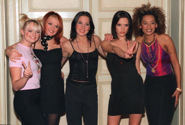 """Paris, FRANCE: (FILES) File photo dated 16 December 1997 shows the Spice Girls posing at a hotel in Paris. Pop group the Spice Girls announced 28 June 2007 they are to reform for a world tour, saying """"girl power is back and stronger than ever,"""" in a statement posted on their website. AFP PHOTO THOMAS COEX (Photo credit should read THOMAS COEX/AFP/Getty Images)"""
