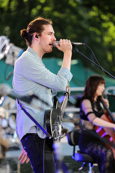 """GOOD MORNING AMERICA - Hozier performs live from Central Park as part of the Summer Concert Series on """"Good Morning America,"""" 7/31/15, airing on the ABC Television Network. (Photo by Fred Lee/ABC via Getty Images)"""