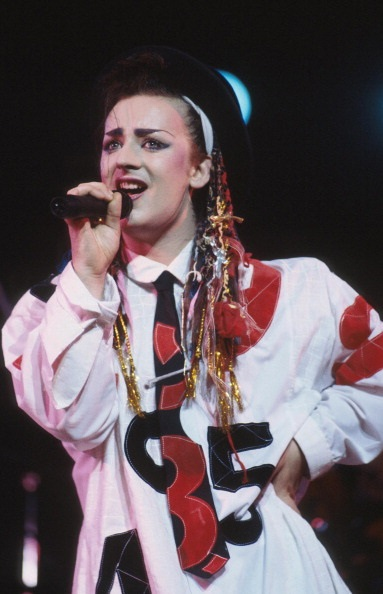 Boy George performs on stage with Culture Club, New York, August 1983. (Photo by Michael Putland/Getty Images)