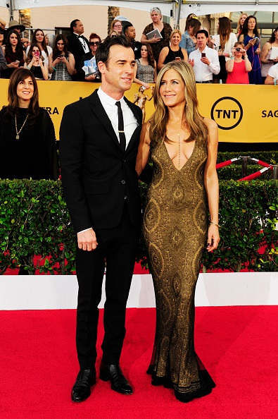 LOS ANGELES, CA - JANUARY 25: Justin Theroux and Jennifer Aniston attend the 21st Annual Screen Actors Guild Awards at the Shrine Auditorium on January 25, 2015 in Los Angeles, California.  (Photo by Amy Graves/WireImage) *** Local Caption *** Justin Theroux;Jennifer Aniston