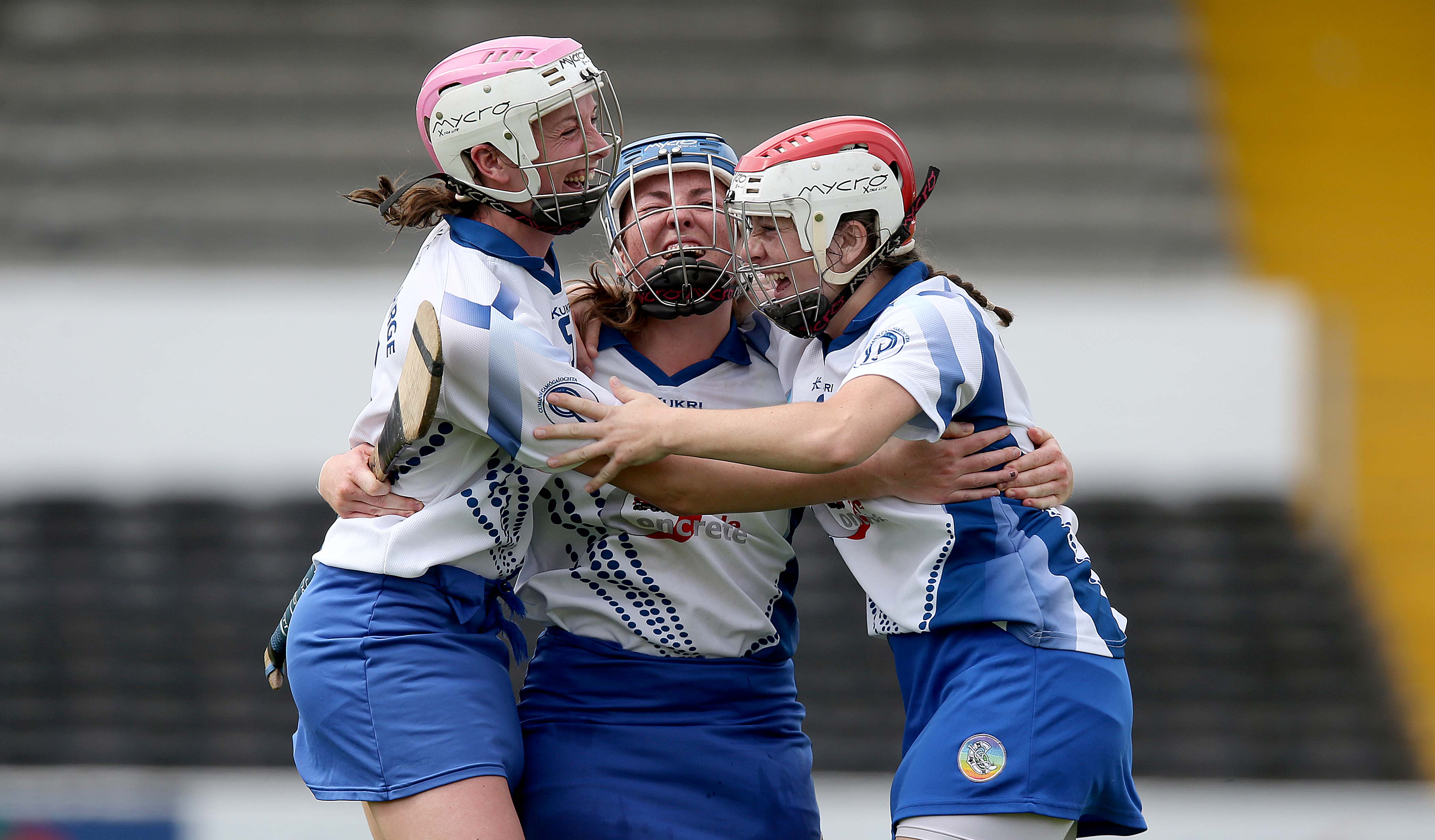 REPRO FREE***PRESS RELEASE NO REPRODUCTION FEE*** Liberty Insurance Intermediate Camogie Championship Semi-Final, Nowlan Park, Kilkenny 22/8/2015 Waterford vs Meath Charlotte Raher, Claire Whyte and Becky Kavanagh of Waterford celebrate at the final whistle Mandatory Credit ©INPHO/Donall Farmer