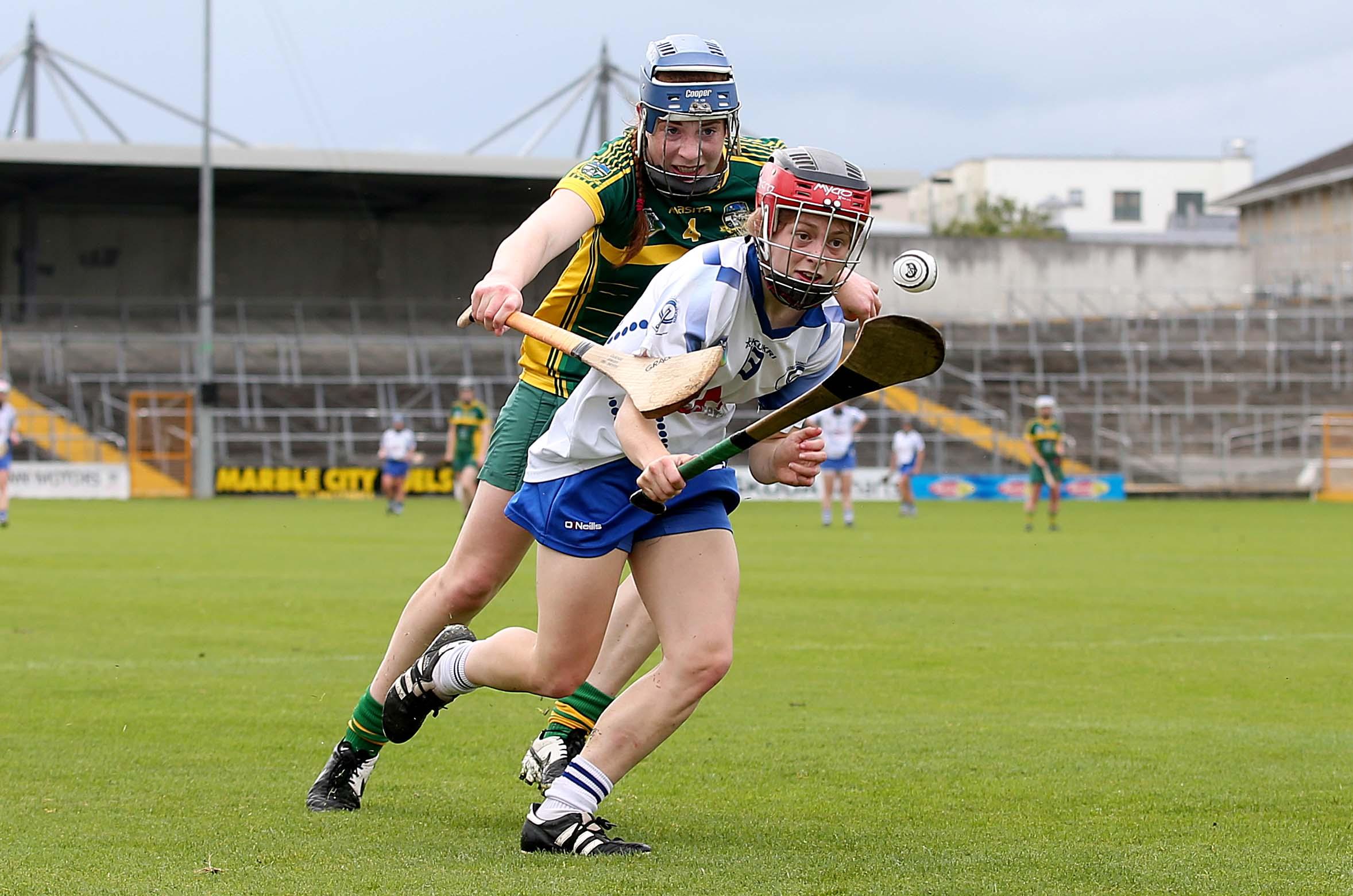 REPRO FREE***PRESS RELEASE NO REPRODUCTION FEE*** Liberty Insurance Intermediate Camogie Championship Semi-Final, Nowlan Park, Kilkenny 22/8/2015 Waterford vs Meath Aisling Power of Waterford with Grace Coleman of Meath Mandatory Credit ©INPHO/Donall Farmer