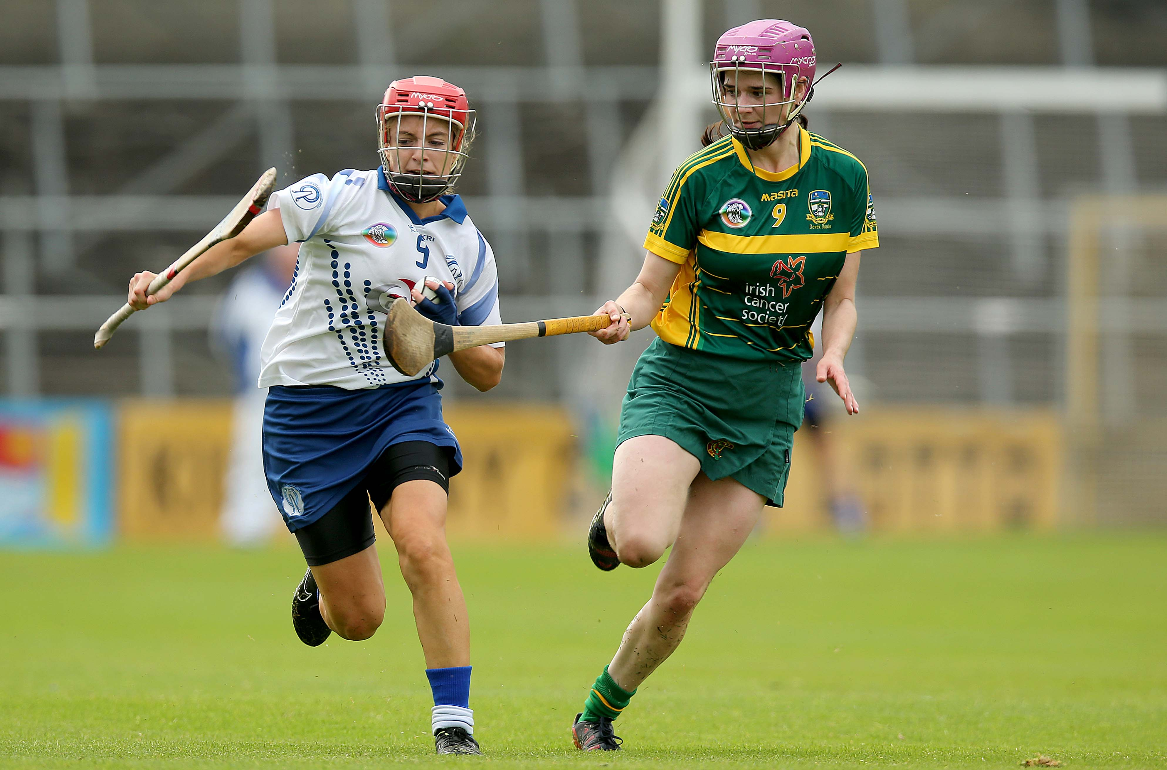 REPRO FREE***PRESS RELEASE NO REPRODUCTION FEE*** Liberty Insurance Intermediate Camogie Championship Semi-Final, Nowlan Park, Kilkenny 22/8/2015 Waterford vs Meath Katie Hackett of Meath with Lorraine Bray of Waterford Mandatory Credit ©INPHO/Donall Farmer