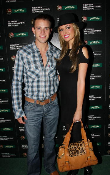 DUBLIN, IRELAND - FEBRUARY 17: Wesley Quirke (L) and his girlfriend former Miss World Rosanna Davison arrive at The Academy for the Jameson Dublin International Film Festival on February 17, 2009 in Dublin, Ireland. (Photo by Phillip Massey/FilmMagic)