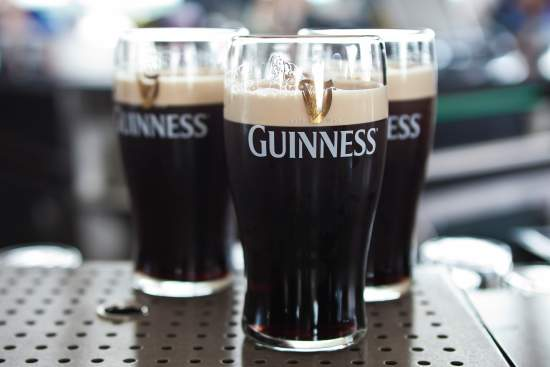 Pints of Guinness at Gravity Bar at Guinness Storehouse.