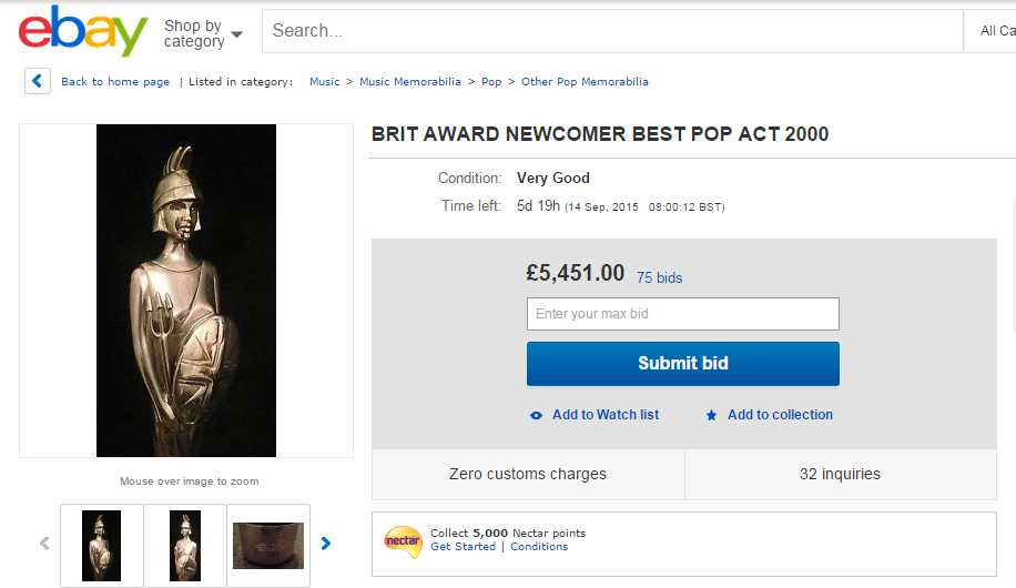 Boy Band Star Puts Brit Award Up For Auction On eBay | Her ie