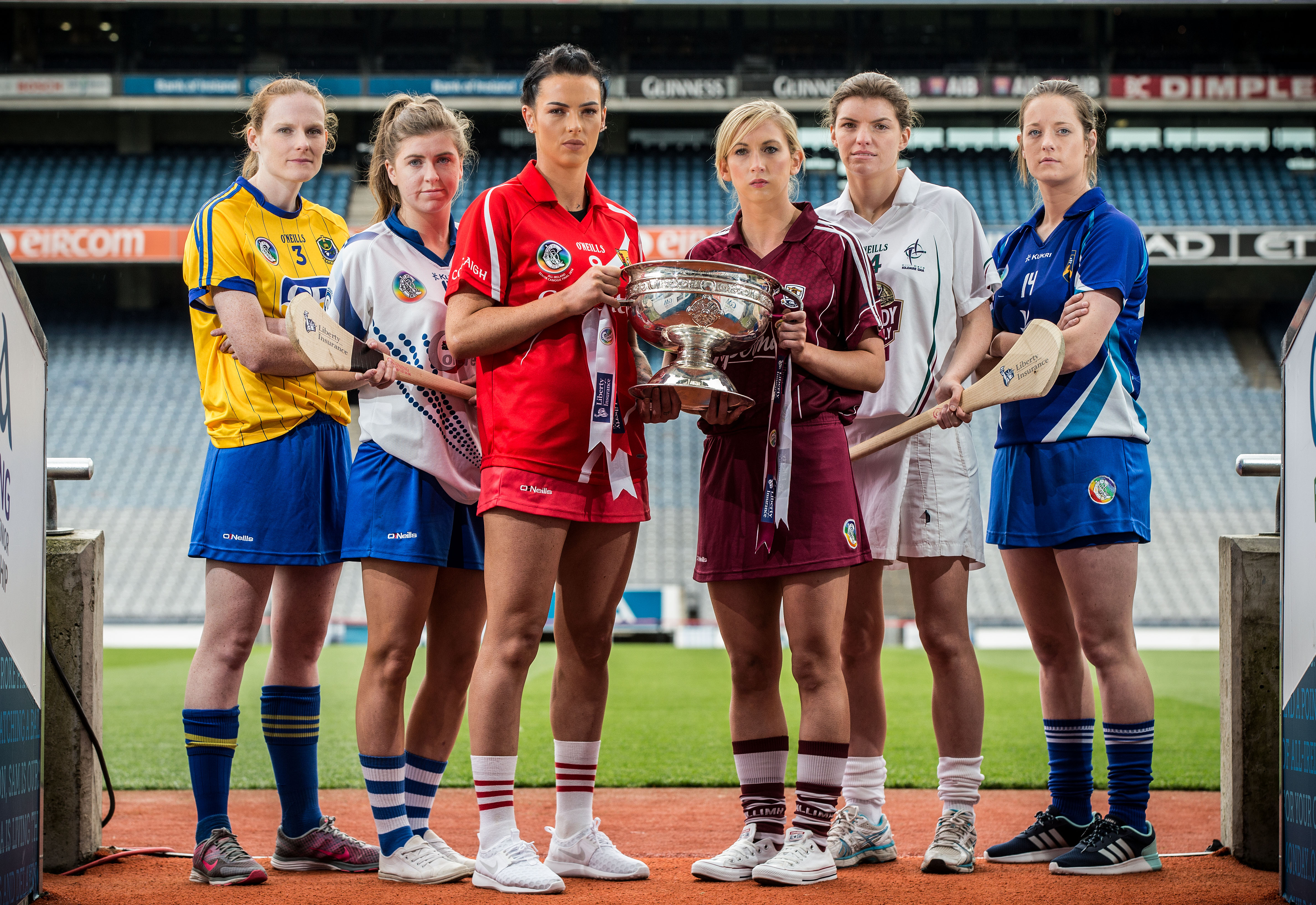 REPRO FREE***PRESS RELEASE NO REPRODUCTION FEE*** Liberty Insurance All-Ireland Final Camogie Finals CaptainsÕ Day. Croke Park, Dublin. 4/9/2015 Pictured at the Liberty Insurance All-Ireland Camogie Finals CaptainsÕ Day held in Croke Park, Thursday, September 3rd were: (l-r) Premier Junior finalist, Siobh‡n Coyle of Roscommon, WaterfordÕs Caithr'ona McGlone, Intermediate finalist, Ashling Thompson of defending Senior champions Cork, Galway Senior captain Niamh Kilkenny, KildareÕs Susie OÕCarroll, Intermediate finalist, and Niamh Dollard, Laois, premier Junior finalist. The Camogie Association will use Hawk-Eye, the point technology system on All-Ireland Finals Day on September 13th and are the first female Gaelic Games organisation to utilise the system. Defending champions Cork are going for their second title-in-a-row and will be aiming to equal DublinÕs record of 25 senior All-Ireland titles. Full details on the upcoming games are available on www.camogie.ie Mandatory Credit ©INPHO/Cathal Noonan