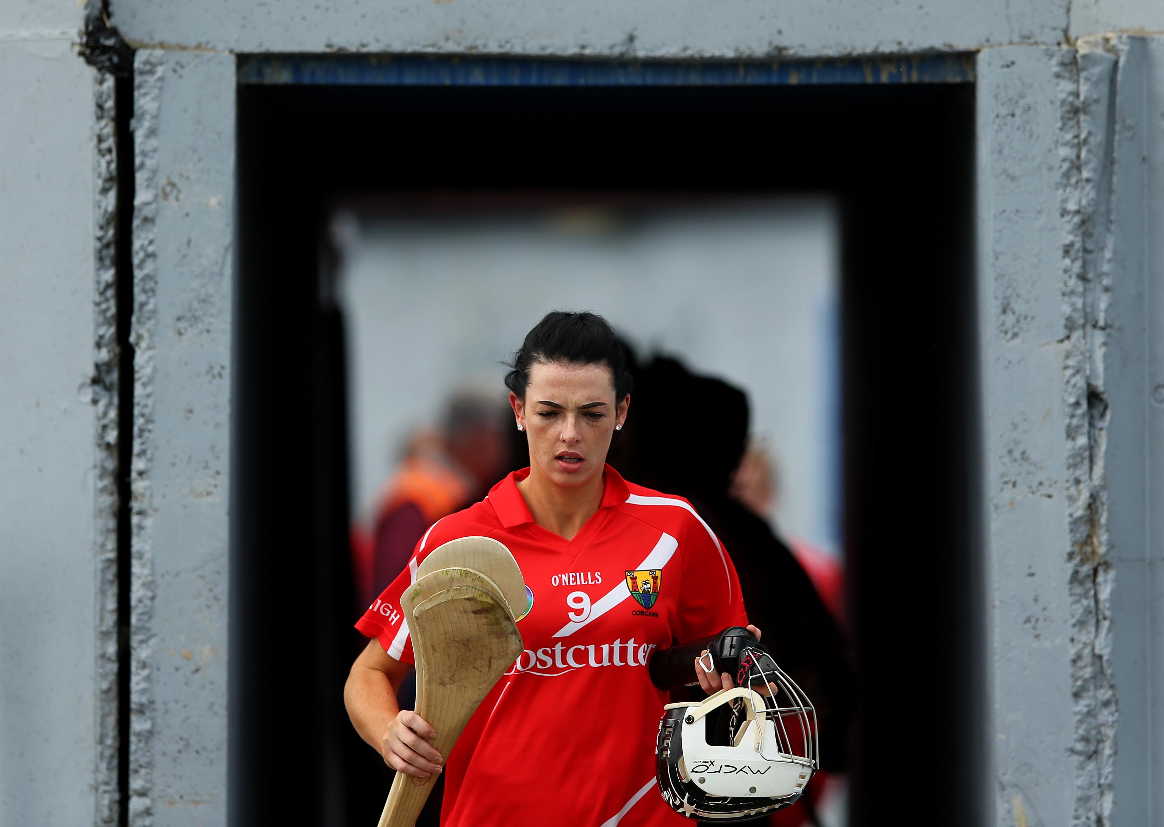 REPRO FREE***PRESS RELEASE NO REPRODUCTION FEE*** Liberty Insurance Senior Camogie Championship Semi-Final, Walsh Park, Waterford 16/8/2015 Kilkenny vs Cork Cork's Ashling Thompson leads out her team Mandatory Credit ©INPHO/Ryan Byrne