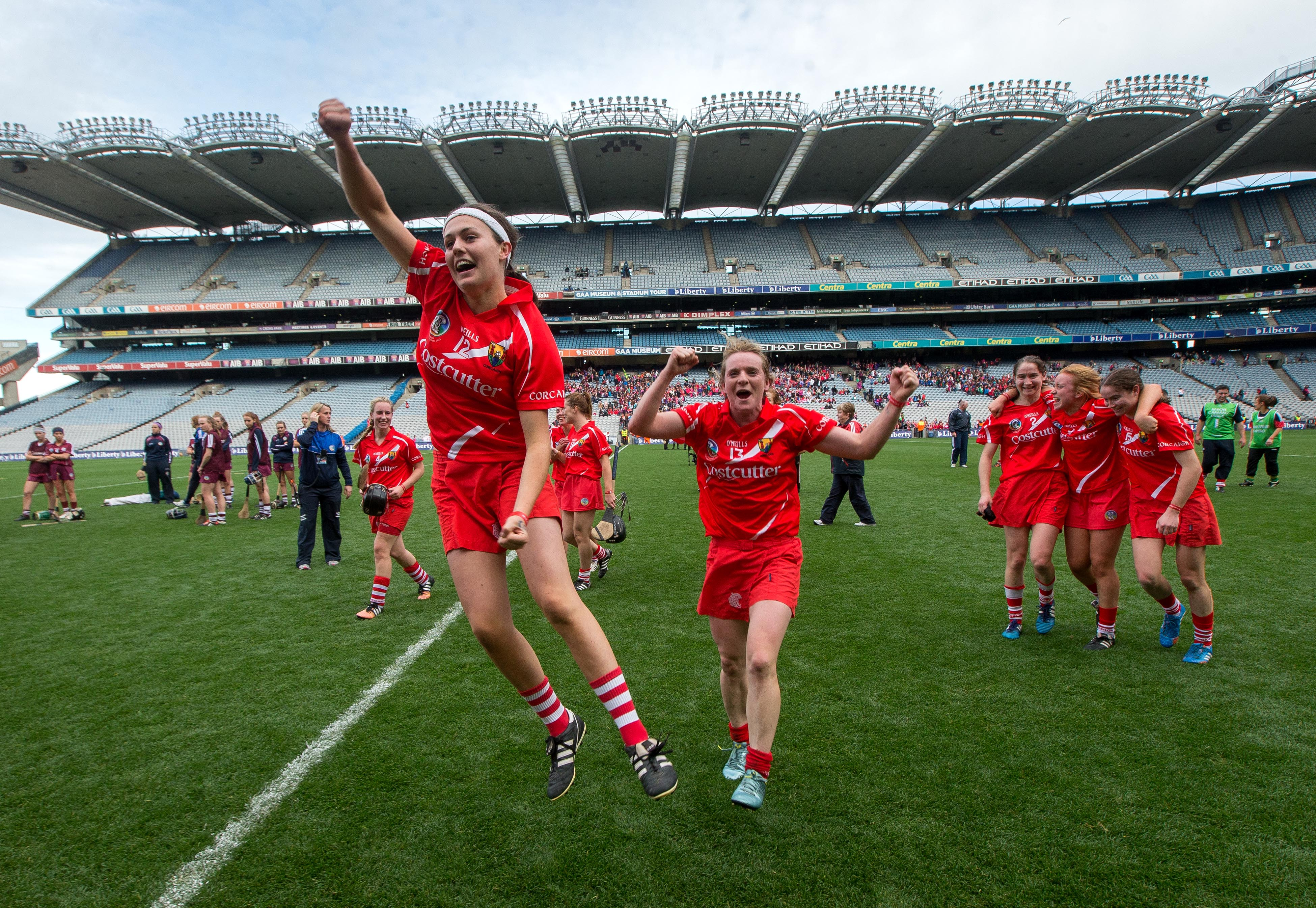REPRO FREE***PRESS RELEASE NO REPRODUCTION FEE*** Liberty Insurance Senior Camogie Championship Final, Croke Park, Dublin 13/9/2015 Cork vs Galway Cork's Hannah Looney and Briege Corkery celebrate after the game Mandatory Credit ©INPHO/Ryan Byrne