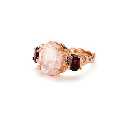 Chupi Print Rose Gold Ring Dew Drop in the Wild Rose Quartz with Pink Garnet 1_opt