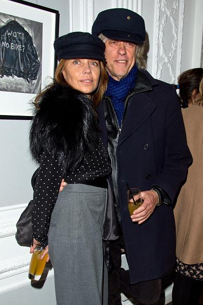 "LONDON, ENGLAND - JANUARY 20: (L-R) Jeanne Marine and Bob Geldof attend the Paul Simonon ""Wot No Bike' Private View at the ICA on January 20, 2015 in London, England. (Photo by David M. Benett/Getty Images)"