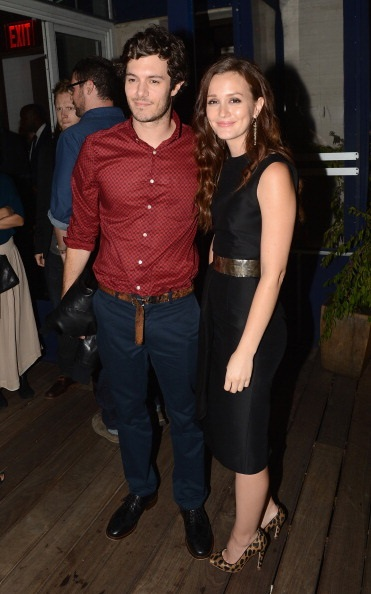 """NEW YORK, NY - SEPTEMBER 14: Adam Brody and Leighton Meester attend The Cinema Society with The Hollywood Reporter & Samsung Galaxy S III host a screening of """"The Oranges"""" After Party at Jimmy's at James Hotel on September 14, 2012 in New York City. (Photo by Andrew H. Walker/Getty Images)"""