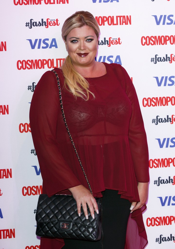 LONDON, ENGLAND - SEPTEMBER 17: Gemma Collins attends the Catwalk to Cosmopolitan fashion show as part of the Cosmopolitan FashFest at Battersea Evolution on September 17, 2015 in London, England. (Photo by John Phillips/Getty Images)