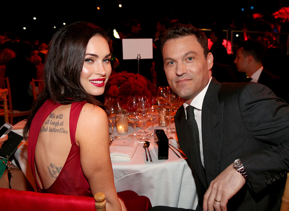LOS ANGELES, CA - OCTOBER 11: Actors Megan Fox (L) and Brian Austin Green attend Ferrari Celebrates 60 Years In America on October 11, 2014 in Los Angeles, California. (Photo by Jonathan Leibson/Getty Images for Ferrari North America)