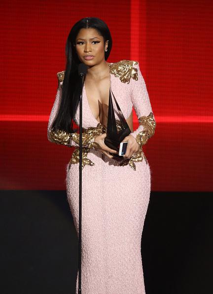 LOS ANGELES, CA - NOVEMBER 22: Nicki Minaj speaks onstage at the 2015 American Music Awards at Microsoft Theater on November 22, 2015 in Los Angeles, California. (Photo by Michael Tran/FilmMagic)