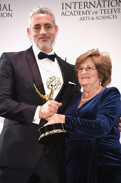 NEW YORK, NY - NOVEMBER 23: Award winners for Non-Scripted Entertainment for '50 Ways To Kill Your Mammy', executive producer Baz Ashmawy and cast member Nancy Ashmawy pose for pictures during the 43rd International Emmy Awards press room reception on November 23, 2015 in New York City. (Photo by Gary Gershoff/WireImage)
