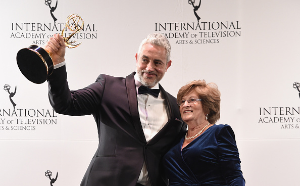 """NEW YORK, NY - NOVEMBER 23: Award Winners for Non-Scripted Entertainment for """"50 Ways To Kill Your Mammy"""" Baz Ashmawy, Executive Producer and Nancy Ashmawy, Principal Cast celebrate at 43rd International Emmy Awards at New York Hilton on November 23, 2015 in New York City. (Photo by Theo Wargo/Getty Images)"""