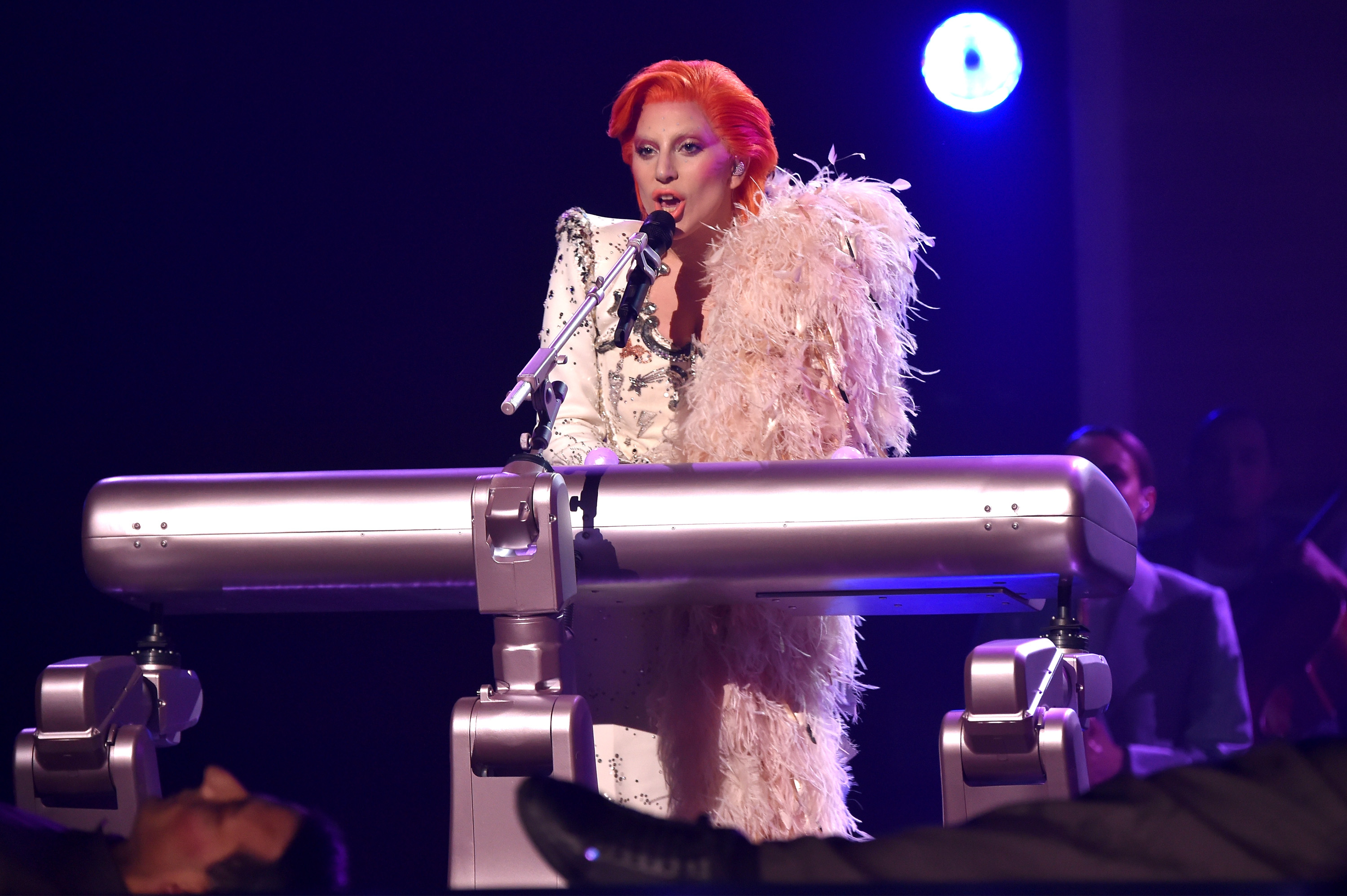 LOS ANGELES, CA - FEBRUARY 15: Singer Lady Gaga performs a tribute to the late David Bowie onstage during The 58th GRAMMY Awards at Staples Center on February 15, 2016 in Los Angeles, California. (Photo by Larry Busacca/Getty Images for NARAS)