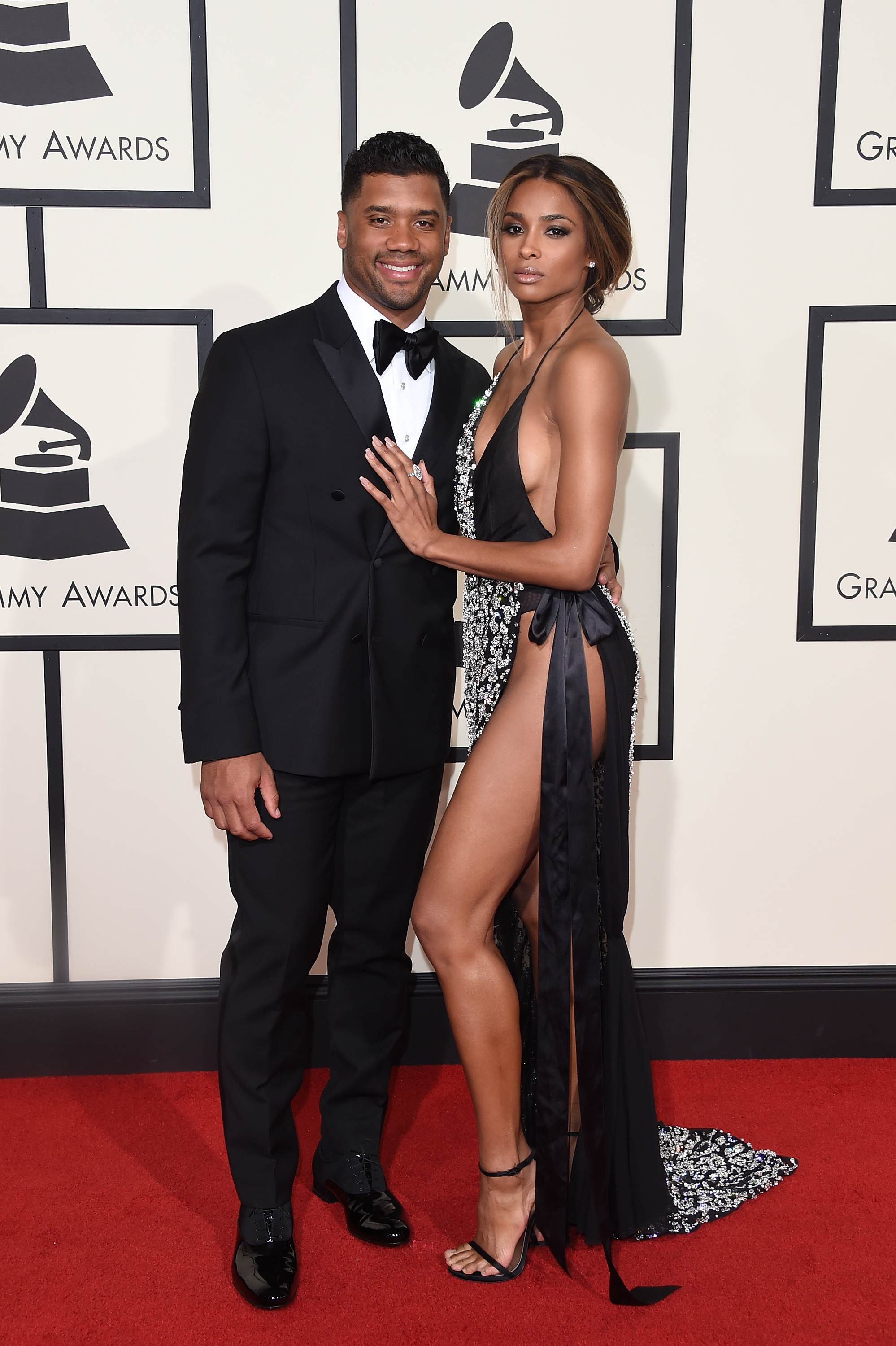 LOS ANGELES, CA - FEBRUARY 15: NFL player Russell Wilson and singer Ciara attend The 58th GRAMMY Awards at Staples Center on February 15, 2016 in Los Angeles, California. (Photo by Jason Merritt/Getty Images for NARAS)