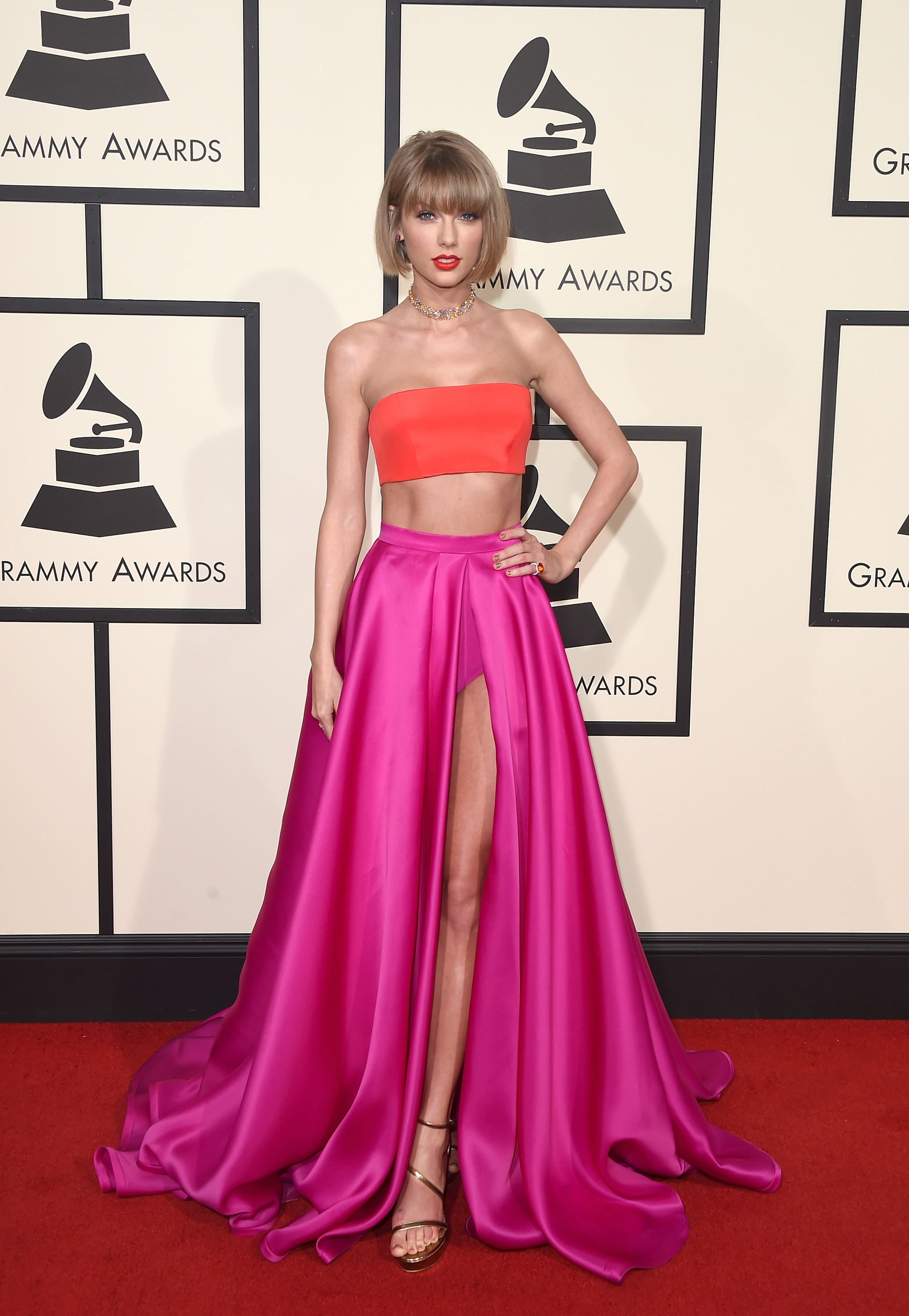 LOS ANGELES, CA - FEBRUARY 15: Musician Taylor Swift, fashion detail, attends The 58th GRAMMY Awards at Staples Center on February 15, 2016 in Los Angeles, California. (Photo by Jason Merritt/Getty Images for NARAS)