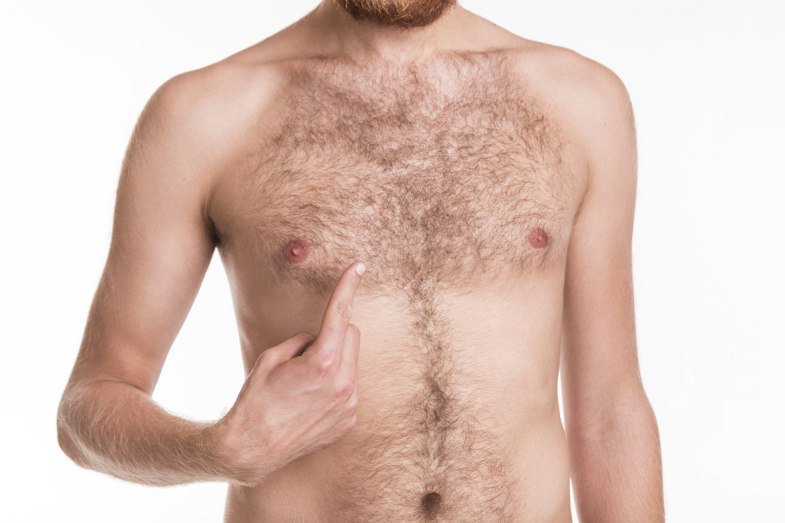 Problem with the hair on your chest - studio shoot