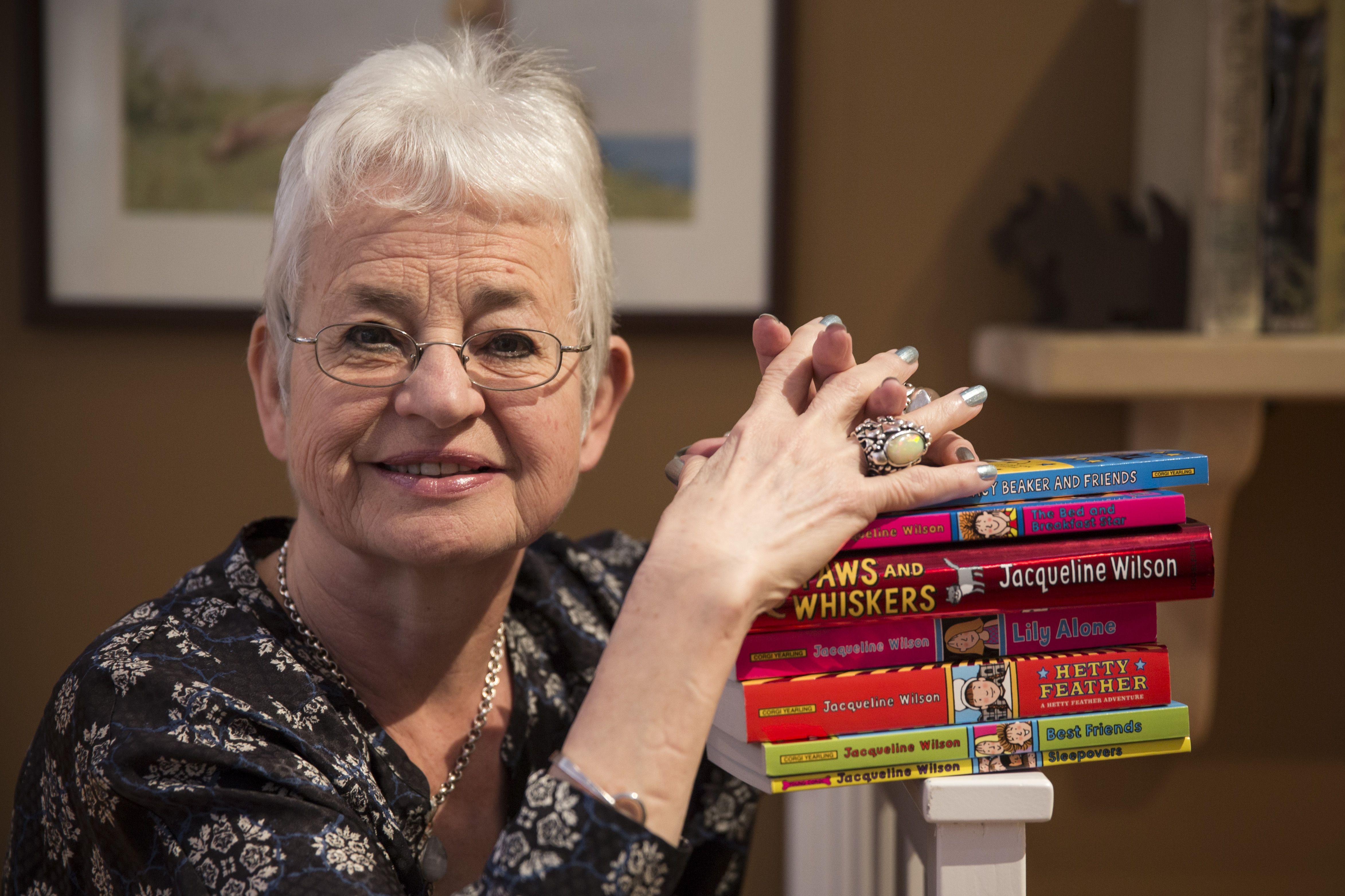 LONDON, ENGLAND - APRIL 03: Children's author Dame Jacqueline Wilson poses for a picture at The V&A's Museum of Childhood on April 3, 2014 in London, England. An exhibition exploring her life and work will open at the museum on April 5, 2014. (Photo by Dan Kitwood/Getty Images)